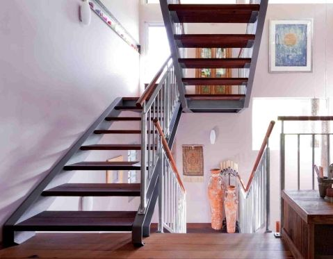 Steel stairs and recycled timber